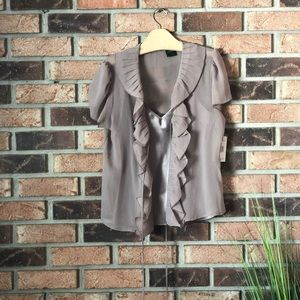 Nicole Miller Ruffle Front Blouse